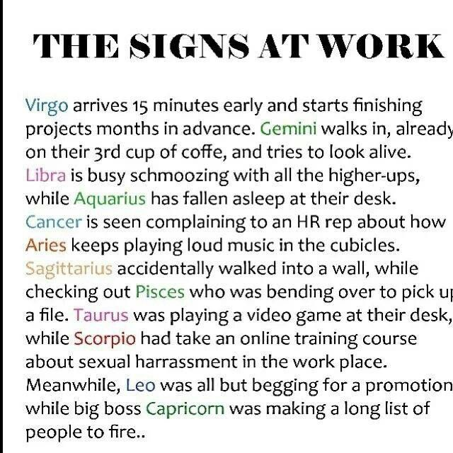 Horoscopes Quotes : The Signs At Work... Virgo, Gemini ...